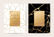 Luxury wedding Invitation cards with black marble texture and gold line vector