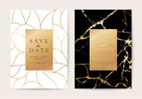Luxury wedding Invitation cards with black marble texture and gold line vector - 202728831