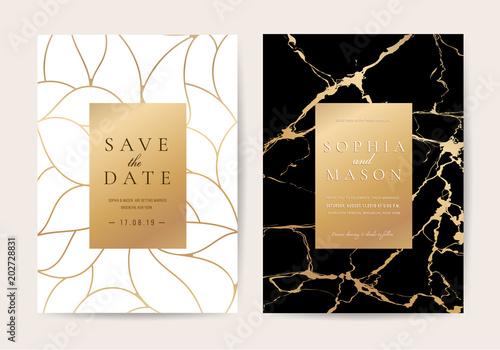 Luksusowe ślubne Zaproszenia z czarnego marmuru tekstury i złota linia wektor