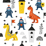 Hand Drawn Seamless Pattern with Dragons and Knights. Creative Childish Background with Cute Hero Boys for Fabric, Textile, Wallpaper, Decoration, Prints. Vector illustration - 202731009