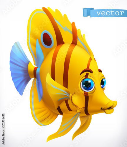 Fototapeta Funny tropical fish. 3d vector icon