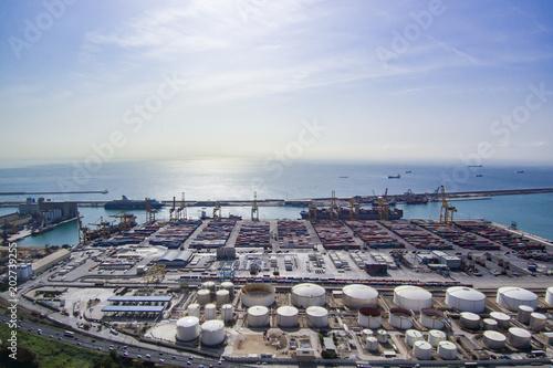 Plexiglas Barcelona Aerial view from Zona Franca - Port, the industrial port of Barcelona