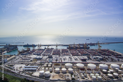 Aerial view from Zona Franca - Port, the industrial port of Barcelona Poster