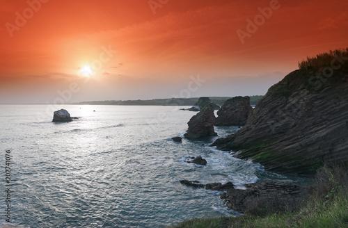 Plexiglas Baksteen Cliffs on the cornice of of the Basque coast
