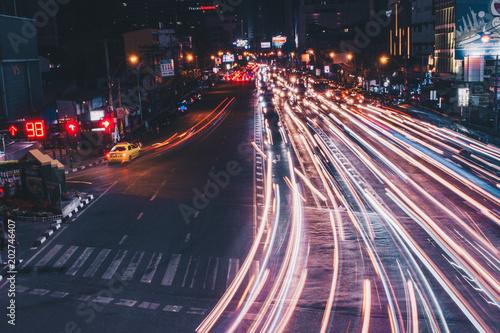 Plexiglas Nacht snelweg Light trails in bangkok Long exposure