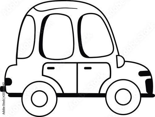 Black and White Hot Car Vector illustration