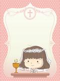 Kid Girl First Communion Invitation Illustration