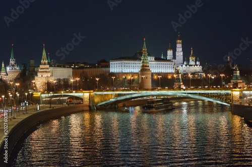 Moscow night image. The Kremlin, the Ivan the Great bell tower, the Assumption cathedral, the Arkhangelsk cathedral and the Residence of the President of the Russian Federation are in focus