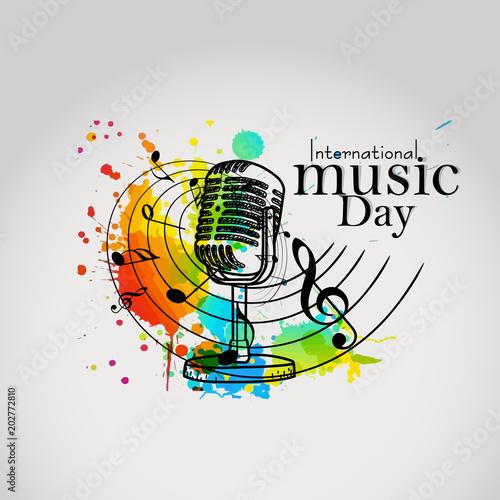 ładny i piękny abstarct lub plakat na Międzynarodowy Dzień Muzyki z ładną i kreatywną ilustracją.