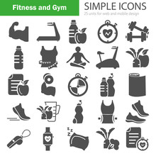 Fitness And Training Simple Icons For Web And Mobile Design Sticker