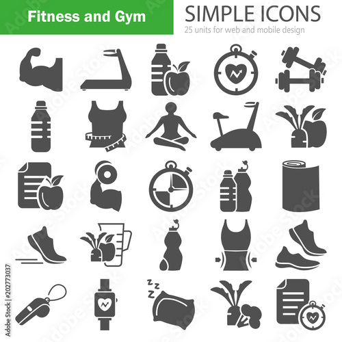 Fototapeta Fitness and Training simple icons for web and mobile design