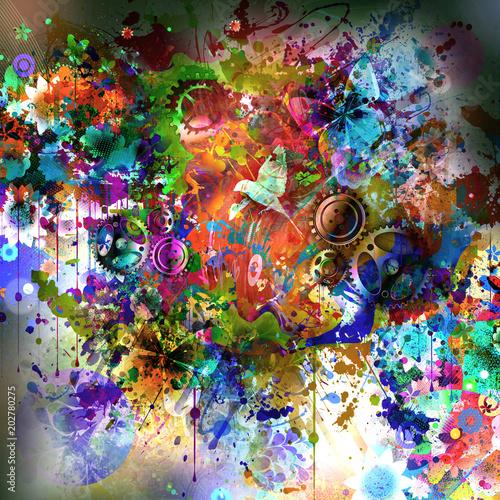Aluminium Reznik Красочные бабочки на фоне абстрактных волшебных брызг
