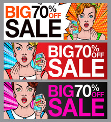 Pop Art sale banner set. Comic woman holding mobile phone in her hand. Amazed, wow, cute face, wow, makeup, wonder.  Sale, discount, special offer banner or poster.