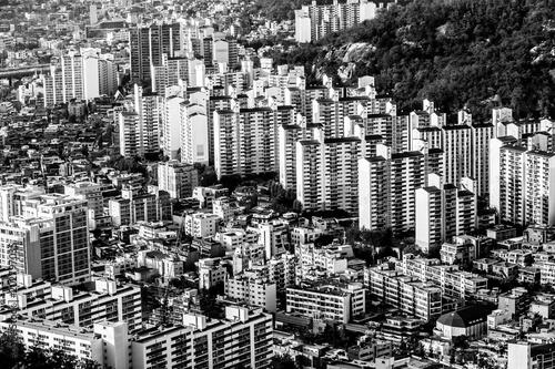 Plexiglas Seoel Typical residential areas of Seoul, South Korea, black and white image
