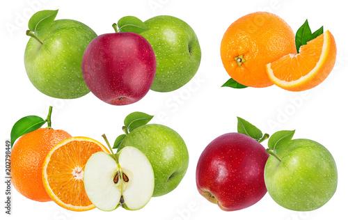 jabłko i pomarańcza na białym tle