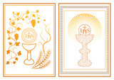 Set of two golden first communion invitation cards - 202801014