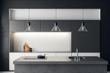 Clean dark kitchen interior © peshkova