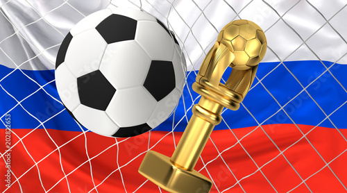 soccer ball trophy and soccer net 3d illustration