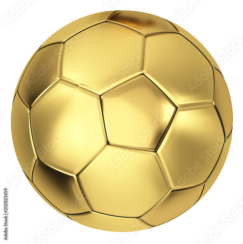 golden soccer ball 3d illustration isolated