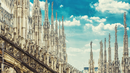 Amazing panoramic view of Milan Cathedral roof