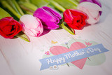 mothers day greeting against tulips on table - 202834801