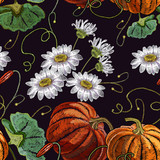 Orange pumpkin and white chamomiles flowers beautiful classical embroidery food pattern. Template for clothes, t-shirt design - 202856832