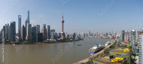 Plakat Aerial photography at Shanghai Skyline of panorama