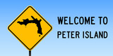 Peter Island map on road sign. Wide poster with Peter Island island map on yellow rhomb road sign. Vector illustration. - 202860058