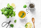 Green melissa lemon tea on light background, top view - 202861018