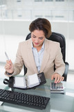Businesswoman using calculator and looking at diary - 202861625