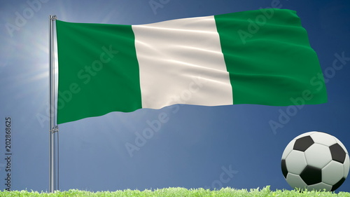 Flag of Nigeria fluttering and a football rolls on the lawn, 3d rendering.