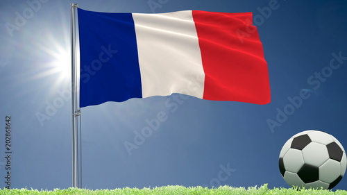 Flag of France fluttering and a football rolls on the lawn, 3d rendering.