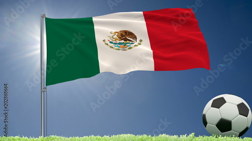 Flag of Mexico fluttering and a football rolls on the lawn, 3d rendering.