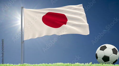 Flag of Japan fluttering and a football rolls on the lawn, 3d rendering.