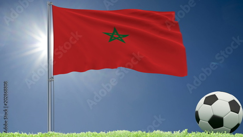 Flag of Morocco fluttering and a football rolls on the lawn, 3d rendering.