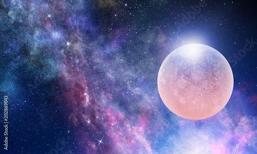 Poster Full moon in night starry sky