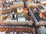 aerial view on narrowly streets of european city. evening time