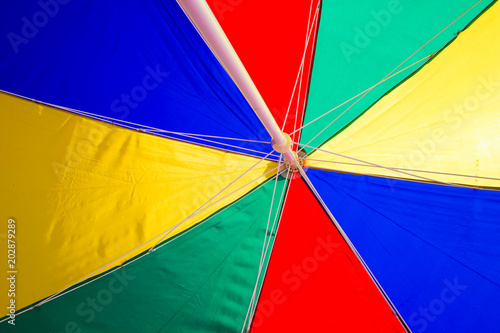 Leinwanddruck Bild Beach Umbrella undersurface colourful. Trip tropical beah holidays theme wallpaper