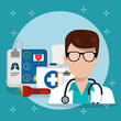 man doctor with medical services icons vector illustration design