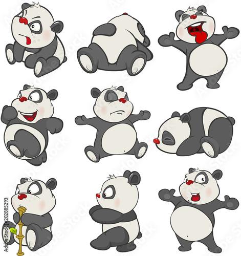 Aluminium Babykamer Set of Cartoon Illustration. A Cute Panda Bear for you Design