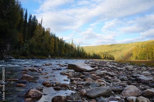 Aluminium Bergrivier Mountain river. Northern Urals