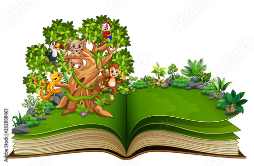 Plexiglas Zoo Open book with animals cartoon on the trees