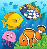 Coral reef fish theme image 9