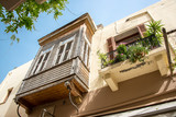 Wooden balcony in the old town of Rethymno in Crete, Greece - 202898282