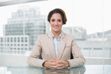 Content businesswoman looking at camera at her desk - 202904637
