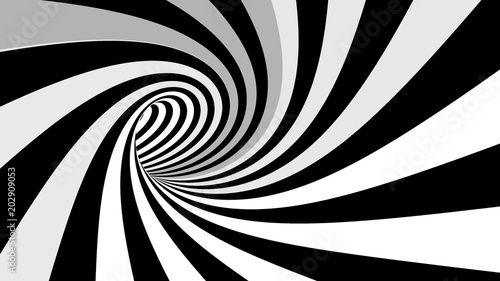 Hypnotic spiral illusion 3D rendering