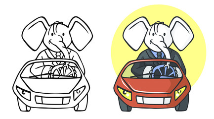 elephant businessman on car