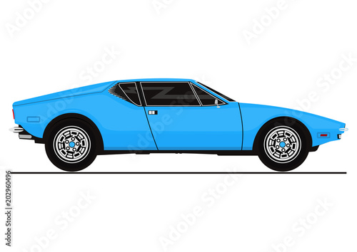 Vector sticker of vintage sports car. Side view. Flat vector. - 202960496
