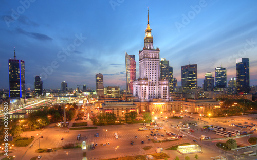 Evening panorama of the city. Warsaw Poland. - 202966218