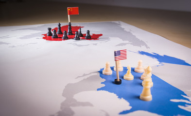USA and China trade war concept